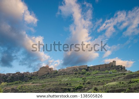Spanish Medieval town of Cantavieja seen from a low angle viewpoint