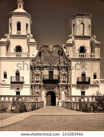 Spanish mission San Xavier del Bac started in 1692 by Spanish missionaries in the Americas - stock photo