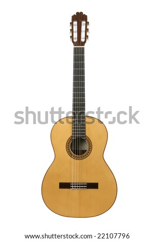 Spanish or classical acoustic guitar isolated on white.