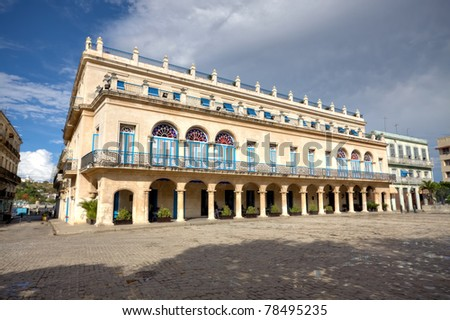 Spanish palace in Old Havana with all the characteristics of the typical colonial architecture : columns,porticoes, and balconies - stock photo