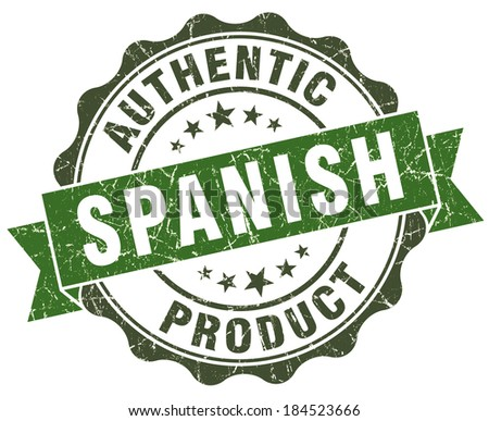 Spanish product green grunge retro style isolated seal