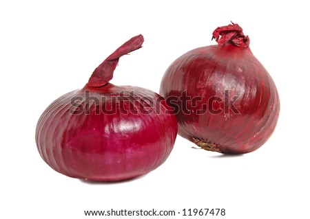 Spanish red onion on white background