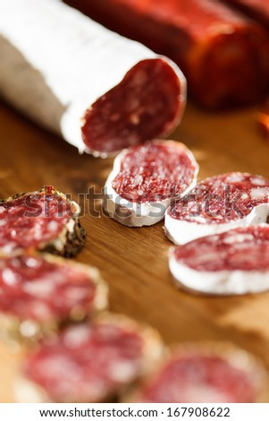 spanish sausages - stock photo