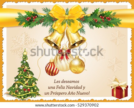 Spanish seasons greetings christmas new year stock illustration spanish seasons greetings christmas new year card les deseamos feliz navidad y feliz m4hsunfo