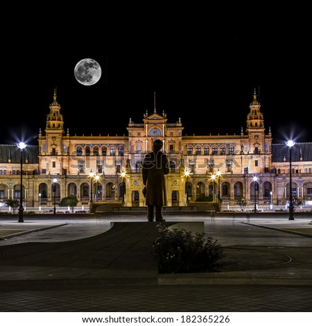 Spanish Square (Plaza de Espana) in Sevilla at night with full moon, Spain.  - stock photo