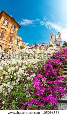 Spanish stairs in Rome, Italy - stock photo