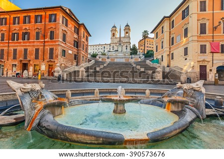 Spanish Steps at morning in Rome, Italy - stock photo