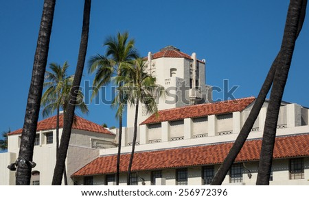 Spanish style architecture of Honolulu Hale or town hall in center of city of Honolulu, Oahu, Hawaii