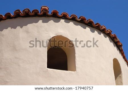 Spanish-style building and window; Balboa Park; San Diego, California - stock photo