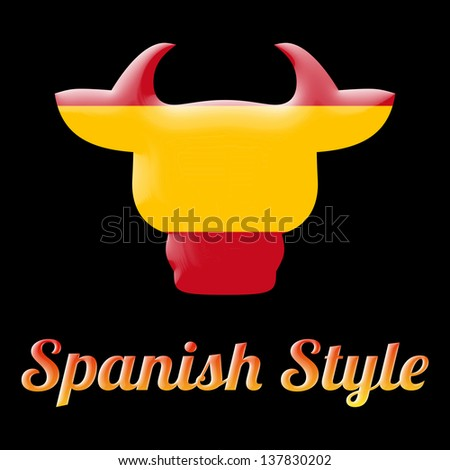 spanish style symbol with a bull head and the colors of Spain flag - stock photo
