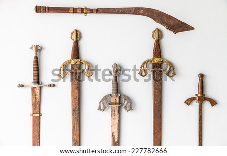 Spanish sword collection detail, sigle XVI - stock photo