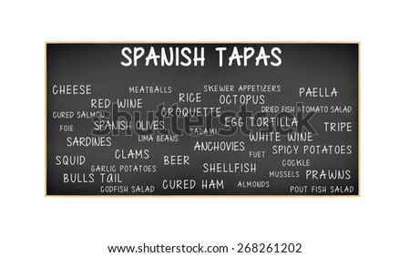 Spanish Tapas Blackboard: Anchovies, Cured Ham, Mussels, Shellfish, Rice, Tortilla, Sardines, Red Wine, White Wine, Octopus, Skewer Appetizers, Cockle, Almonds, Bulls Tail, Squid, Foie, - stock photo