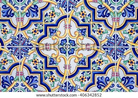 spanish tiles - stock photo