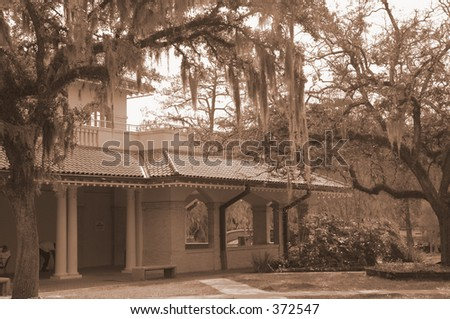 spanish villa in city park, new orleans - stock photo