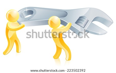 Spanner or wrench gold men illustration, two people carrying a big wrench or spanner - stock photo