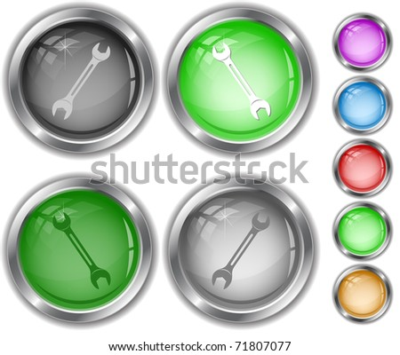 Spanner. Raster internet buttons. Vector version is in portfolio. - stock photo