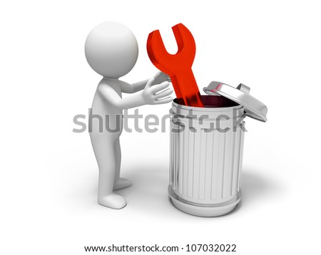 Spanner/ Spanner and trash can - stock photo