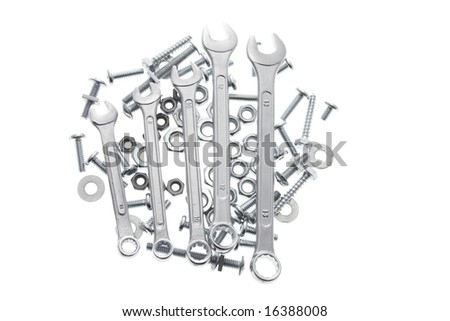 Spanners, Bolts and Nuts on White Background