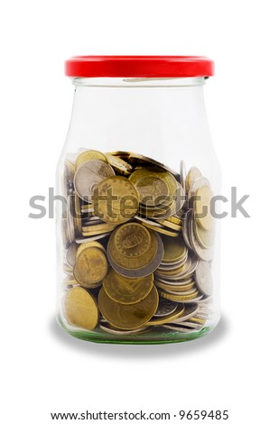 Spare, euro coins in jar - isolated - stock photo