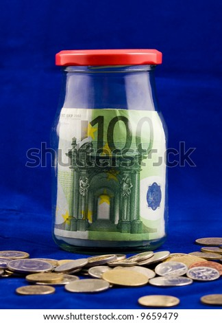 Spare, euros in jar - stock photo