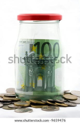 Spare, euros in jar - isolated - stock photo