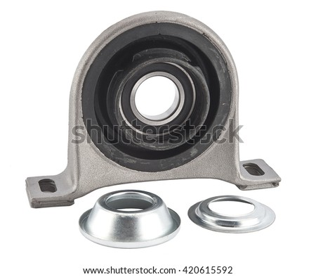 Spare part cardan shaft bearing for car. Roller bearings on white background. Pillow block bearing - stock photo