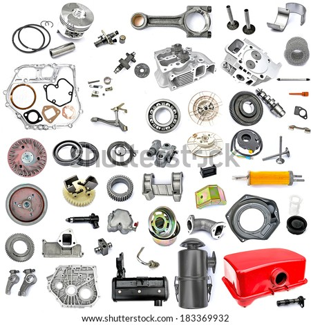 spare parts in disassembled form, gasoline engine, tillage, small tractor, hand plow, mechanics - stock photo