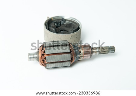 spare parts, starter on a white background - stock photo