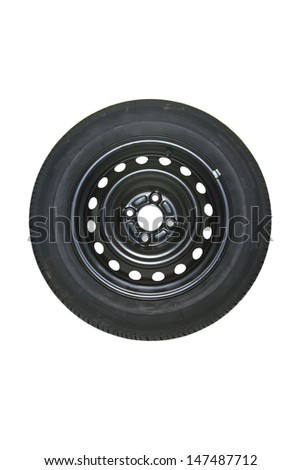 Spare tire isolated on white. - stock photo