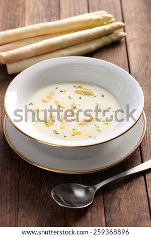 spargelcremesuppe, white asparagus cream soup, german spring cuisine - stock photo