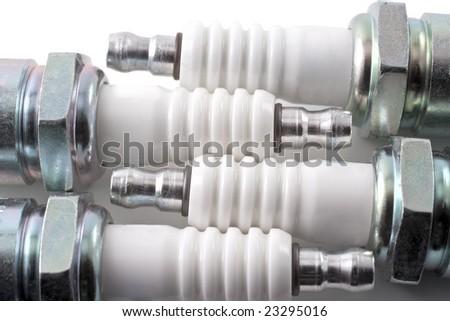 Spark plug isolated on white background - stock photo