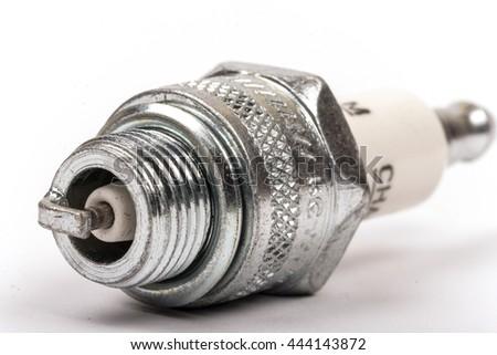 Spark plug macro closeup - stock photo
