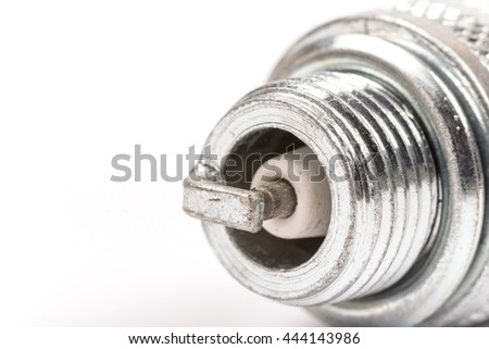 Spark plug over white background with copy space - stock photo