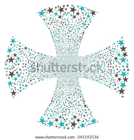 Sparkle Star Maltian Cross glyph illustration. Style is grey and cyan bicolor flat stars, white background. - stock photo