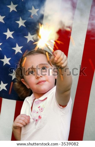 Sparkler Girl against American Flag Background