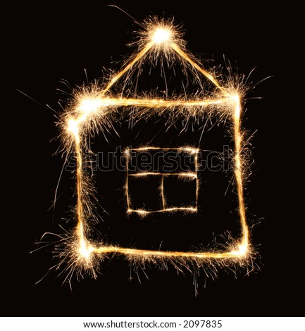 sparkler house - stock photo