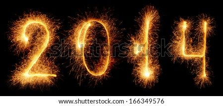 Sparkler. New year 2014 - stock photo
