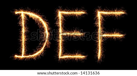 sparklers forming letters, D E F (see more letters in my portfolio)