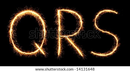 sparklers forming letters, Q R S(see more letters in my portfolio) - stock photo