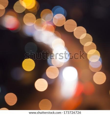 sparkling and defocused lights background. blue bokeh background. - stock photo
