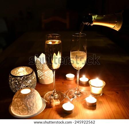 sparkling candle light dinner stock photo royalty free 245922562 shutterstock. Black Bedroom Furniture Sets. Home Design Ideas