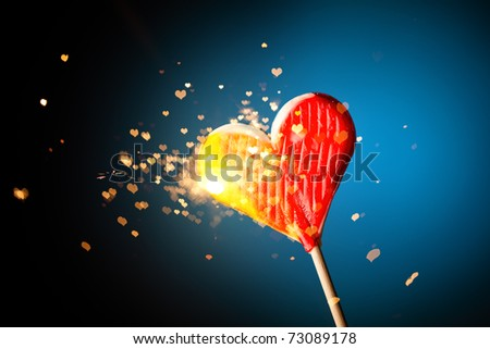 sparkling candy heart - stock photo