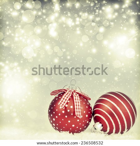 Sparkling Christmas background with red Christmas balls - stock photo