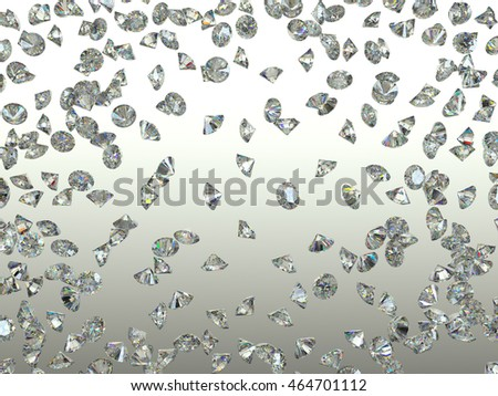Sparkling Gemstones scatter and fly away over gradient. high resolution. 3d render