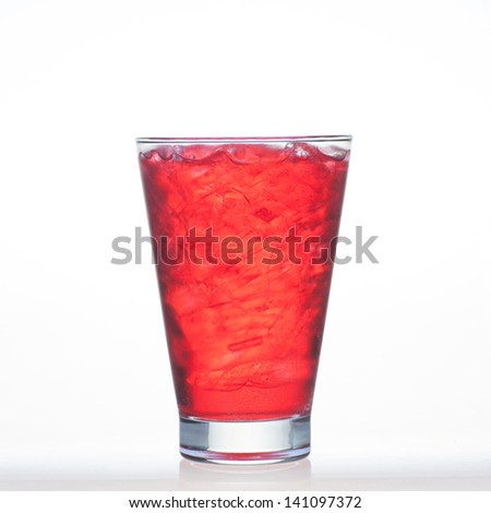 Sparkling red color drinks whit water soda and ice in glass isolated on white background