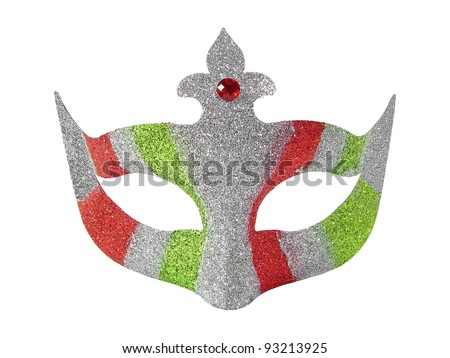 Sparkling red,green and silver mask isolated over white background - stock photo