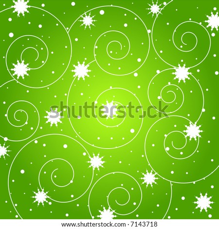 Sparkling stars and spiral pattern on green background - stock photo