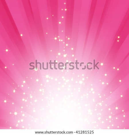 Sparkling stars on pink magenta light burst background - stock photo