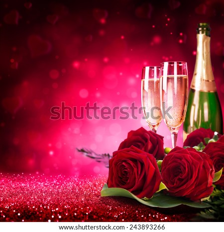 sparkling valentine�s day with champagne and roses - stock photo