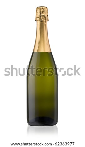 Sparkling White Wine Bottle, Champagne bottle isolated on a white background supplied with a hand drawn clipping path. - stock photo